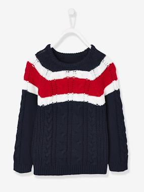 Boys-Cardigans, Jumpers & Sweatshirts-Jumpers-Colourblock-Effect Cable Knit Jumper, for Boys