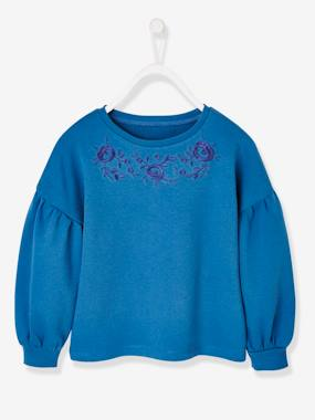 Girls-Cardigans, Jumpers & Sweatshirts-Sweatshirt Embroidered with Flowers, for Girls