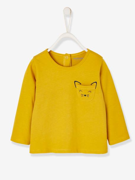Long-Sleeved Top, for Baby Girls PINK MEDIUM SOLID WITH DESIG+WHITE LIGHT SOLID WITH DESIGN+YELLOW MEDIUM SOLID WTH DESIGN - vertbaudet enfant