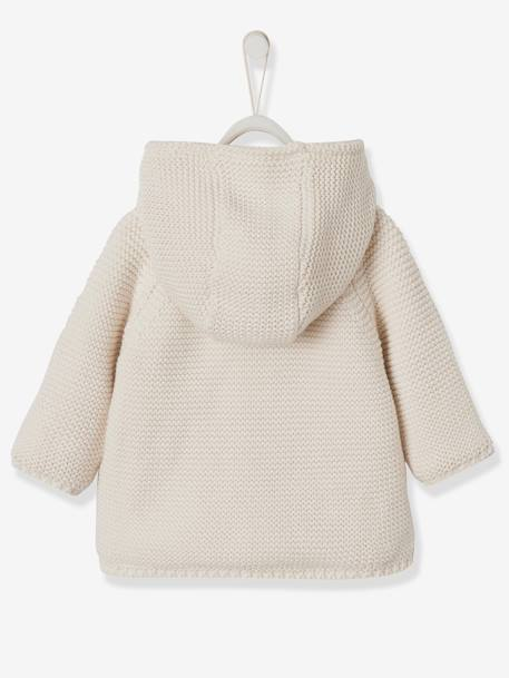 Knitted Cardigan, with Plush Lining, for Baby Girls BLUE DARK SOLID+WHITE LIGHT SOLID - vertbaudet enfant