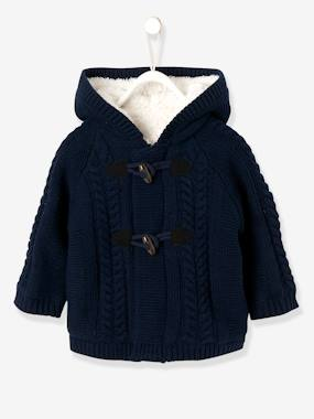 Baby-Jumpers, Cardigans & Sweaters-Cardigan with Hood, Faux Fur Lining, for Baby Boys