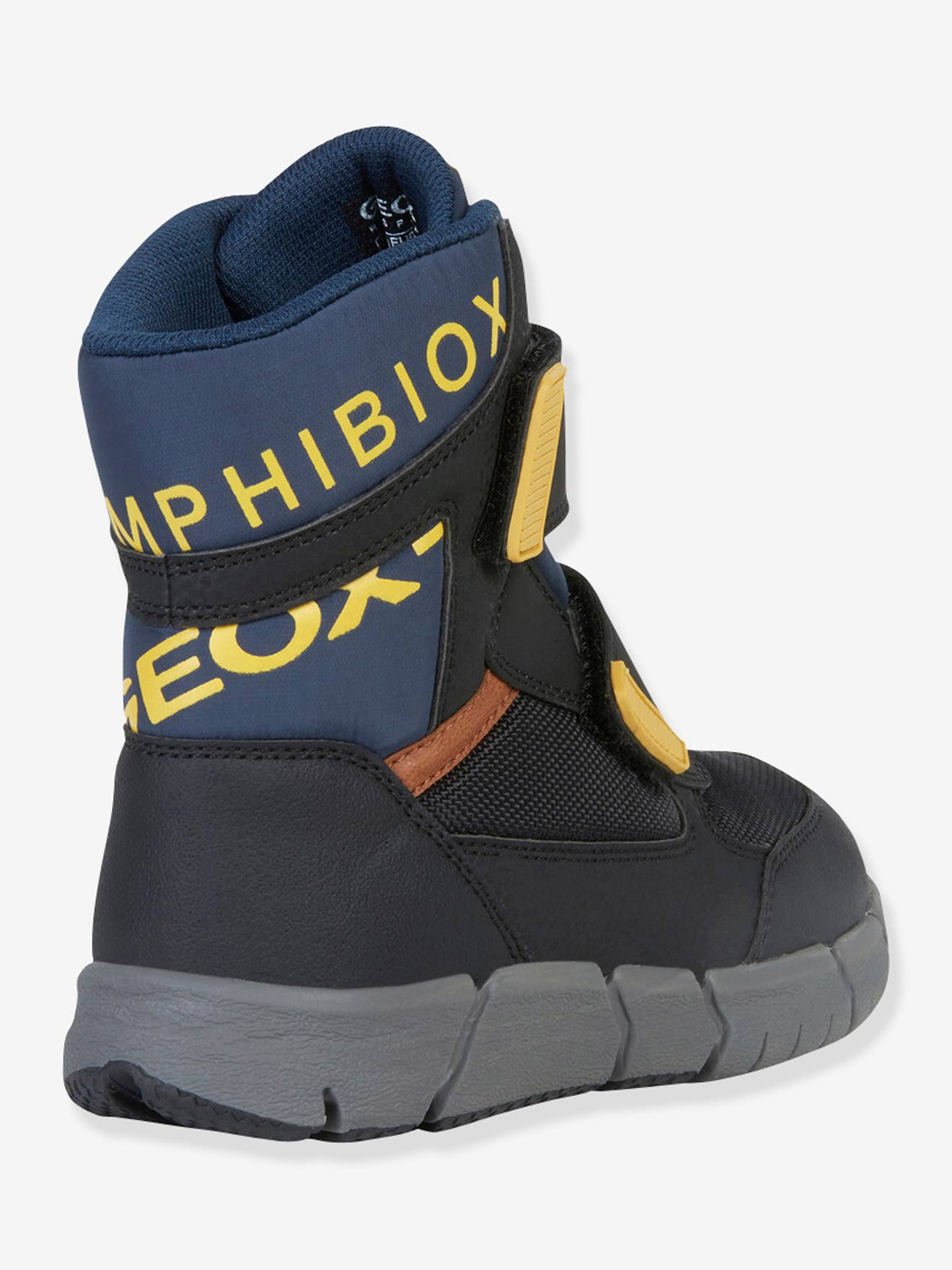 J Flexyper Boy B Abx Boots for Boys, by GEOX® black dark solid with design, Shoes