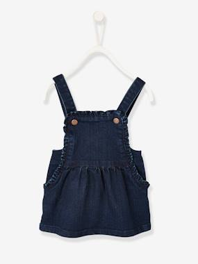 Vertbaudet Collection-Baby-Dresses & Skirts-Pinafore Dress in Denim for Baby Girls