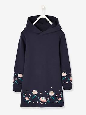 Vertbaudet Collection-Girls-Hooded Fleece Dress for Girls