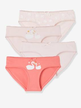 Girls-Underwear-Pack of 4 Briefs for Girls, Swans