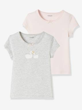 Girls-Underwear-Pack of 2 Stretch T-Shirts for Girls, Swans
