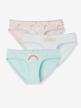 Girls-Underwear-Knickers-Pack of 3 Stretch Briefs for Girls