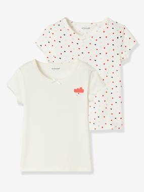 "Girls-Underwear-Pack of 2 Short-Sleeved Stretch T-Shirts, ""Le Plein d'Amour"""