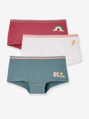 Girls-Underwear-Knickers-Pack of 3 Stretch Shorties for Girls