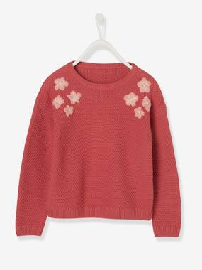 Vertbaudet Collection-Girls-Cardigans, Jumpers & Sweatshirts-Top with Embroidered Flowers, for Girls