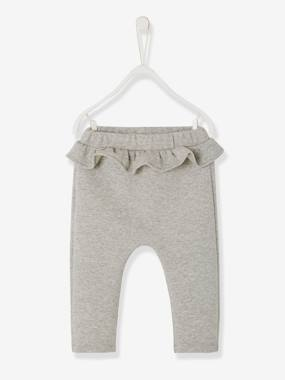 Baby-Trousers & Jeans-Frilly Trousers for Baby Girls, Iridescent Fleece