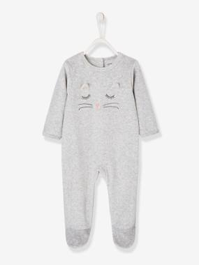 Vertbaudet Collection-Baby-Pyjamas-Velour Sleepsuit for Babies, Press Studs on the Back