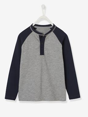 Boys-Tops-T-Shirts-Two-Tone Grandad-style Top, for Boys