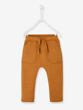 Baby-Trousers & Jeans-Printed Fleece Trousers for Baby Boys