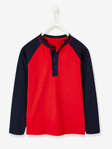 Two-Tone Grandad-style Top, for Boys GREY MEDIUM MIXED COLOR+RED DARK SOLID WITH DESIGN - vertbaudet enfant