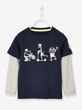 Vertbaudet Collection-Boys-Top for Boys, 2-in-1 Effect, Sports Motif