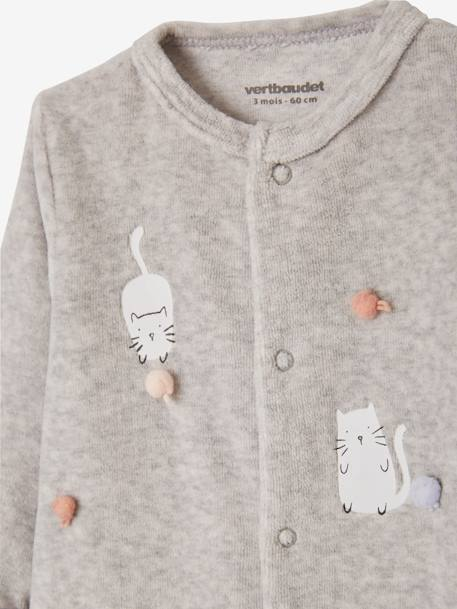 Pack of 2 Velour Sleepsuits for Babies, Press Studs on the Front WHITE LIGHT TWO COLOR/MULTICOL - vertbaudet enfant