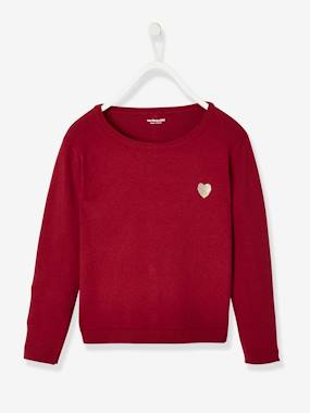 Vertbaudet Collection-Girls-Cardigans, Jumpers & Sweatshirts-Shiny Heart Jumper for Girls