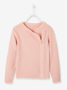 Girls-Cardigans, Jumpers & Sweatshirts-Fancy Knit Cardigan with Side Zip for Girls