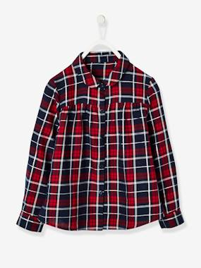 Girls-Blouses, Shirts & Tunics-Plaid Shirt for Girls