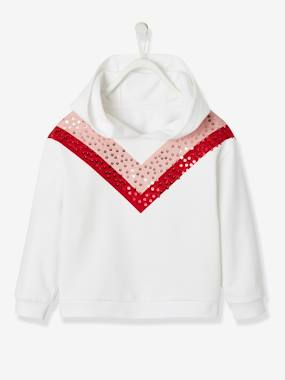 Festive favourite-Girls-Hooded Sweatshirt for Girls, Colourblock Motif with Sequins