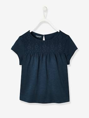 Vertbaudet Collection-Girls-Tops-Short-Sleeved Lacey T-Shirt, for Girls