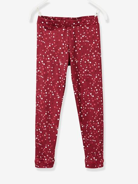 Leggings with Graphic Motifs, for Girls RED DARK ALL OVER PRINTED - vertbaudet enfant