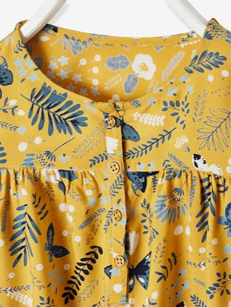 Printed Blouse for Girls BLUE DARK ALL OVER PRINTED+YELLOW DARK ALL OVER PRINTED - vertbaudet enfant