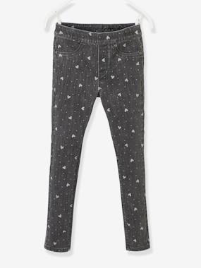 Girls-Trousers-Printed Denim Treggings, for Girls