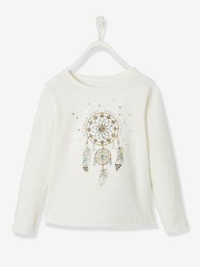 Vertbaudet Collection-Girls-Tops-Top with Dream Catcher Motif, for Girls