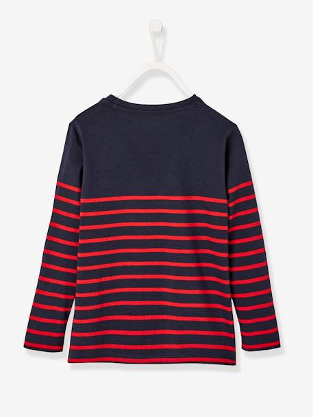 Striped Top with Graphic Motif, for Boys BLUE DARK STRIPED+GREY DARK MIXED COLOR+WHITE LIGHT STRIPED - vertbaudet enfant