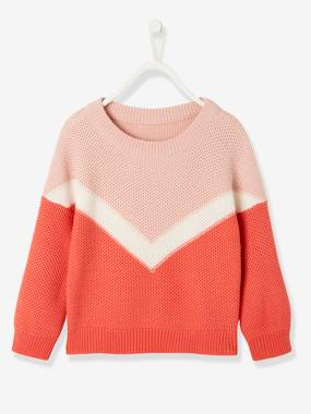 Girls-Cardigans, Jumpers & Sweatshirts-Jumpers-Colour Block Jumper for Girls