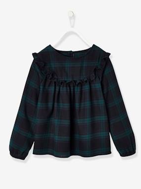 Schoolwear-Blouse with Ruffles & Checked Motifs for Girls