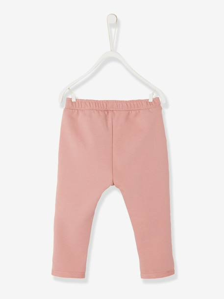 Casual Fleece Trousers for Baby Girls BLUE DARK SOLID+PINK LIGHT SOLID - vertbaudet enfant