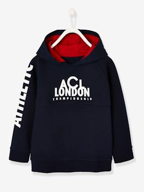 Boys-Sportswear-Hooded Sport Sweatshirt with Inscription for Boys