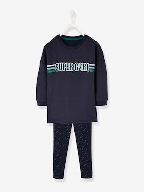 Girls-Sportswear-Sports Combo: Long Sweatshirt & Leggings, for Girls
