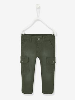 Baby-Trousers & Jeans-Slim Leg Cargo Trousers  in Stretch Twill, for Baby Boys