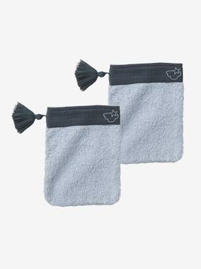 Bedding & Decor-Bathing-Bath Capes-Pack of 2 Bath Mitts in Cotton Gauze