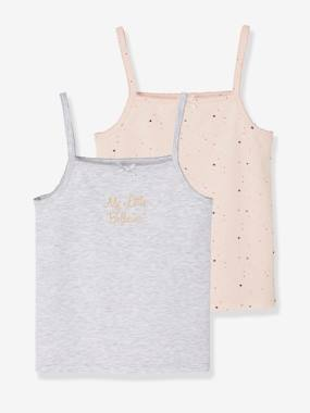Girls-Underwear-T-Shirts-Pack of 2 Stretch Vest Tops for Girls, Ballerina