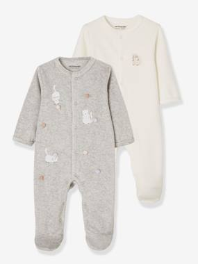 Vertbaudet Collection-Baby-Pack of 2 Velour Sleepsuits for Babies, Press Studs on the Front