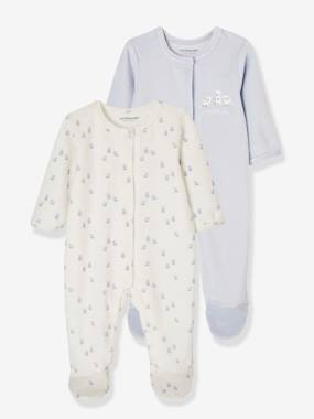 Vertbaudet Collection-Baby-Pack of 2 Baby Sleepsuits with Front Opening in Velour