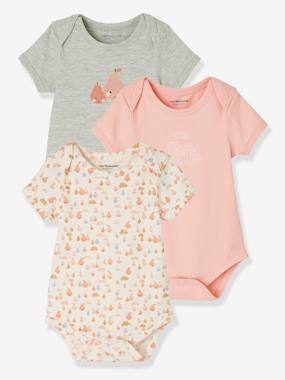 Baby-Bodysuits & Sleepsuits-Pack of 3 Progressive Bodysuits in Stretch Cotton, Short Sleeves