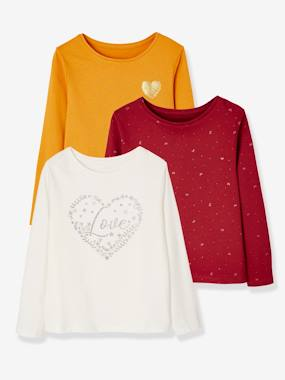 Vertbaudet Basics-Girls-Pack of 3 Assorted Tops, for Baby Girls