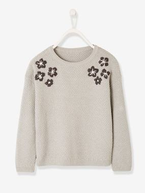 Girls-Cardigans, Jumpers & Sweatshirts-Top with Embroidered Flowers, for Girls