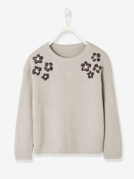 Top with Embroidered Flowers, for Girls BLUE DARK SOLID WITH DESIGN+GREY LIGHT MIXED COLOR+PINK MEDIUM SOLID WITH DESIG - vertbaudet enfant