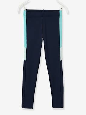 Girls-Sportswear-Leggings with Colourblock Stripes for Girls