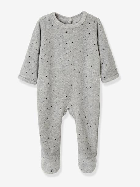 Pack of 3 Velour Sleepsuits for Babies, with Press-Studs on the Back BLUE LIGHT TWO COLOR/MULTICOL+GREY DARK TWO COLOR/MULTICOL+PINK LIGHT 2 COLOR/MULTICOL R - vertbaudet enfant