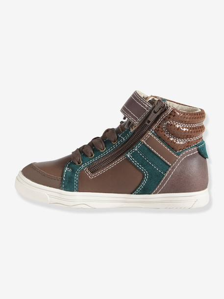 Boys' High Top Leather Trainers BROWN DARK SOLID+Grey - vertbaudet enfant