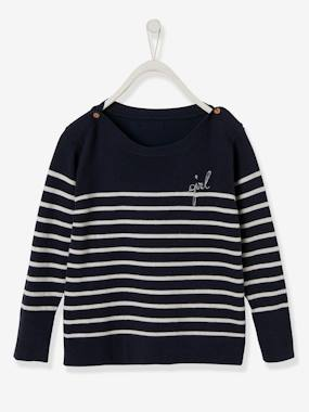 Girls-Cardigans, Jumpers & Sweatshirts-Jumpers-Sailor-Style Jumper with Embroidery on Breast for Girls