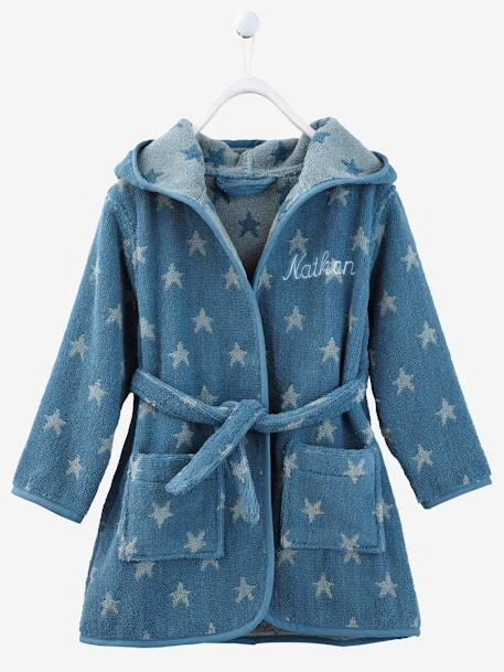 Child's Hooded Bathrobe Blue/stars+Green/cloud+Grey/stars+PINK MEDIUM ALL OVER PRINTED+Pink/polka dot+Violet/heart+Yellow/white striped - vertbaudet enfant